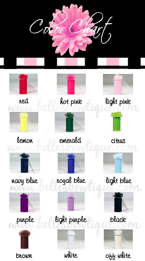 Main Color Chart Tulle Belles Bowtique